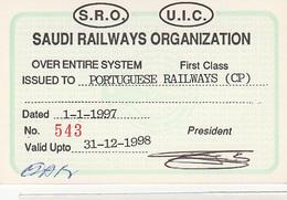 SAUDI RAILWAYS ORGANIZATION. Railway Ticket Card -  Carte De Circulation 1997 - Railway