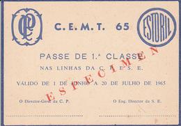 Portugal. -Especimen - Railway  Ticket Card CP- Carris - Metro -  Carte De Circulation 1965 - Railway