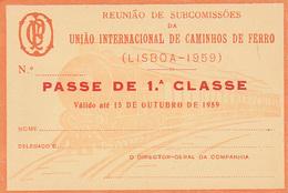 Portugal. -- Railway  Ticket Card UIC -  Carte De Circulation 1959 . Not Used - Railway
