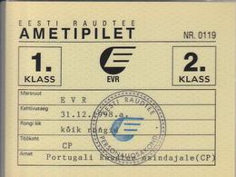 Estonia-- Railway  Ticket Card  -  Carte De Circulation 1998 - Railway