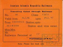 Iran-- Railway  Ticket Card  -  Carte De Circulation 1997 - Railway