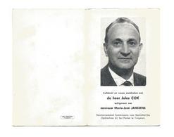 D 283. JULES COX - Commissaris Ger. Opdrachten Bij Parket Te TONGEREN - °HALLE-BOOIENHOVEN 1920 / Plots + ZAVENTEM 1972 - Devotion Images