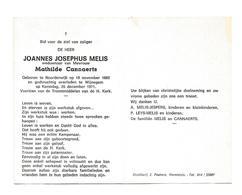 D 286. JOANNES MELIS  Wed. M. Cannaerts  - ° NOORDERWIJK 1882 / +WIJNEGEM 1971 - Images Religieuses