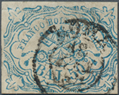 Gest. 1852, 50 Baj Päpstl. Wappen, Hellblau, Dünne Stelle, Mi. 1700.- (Michel: 10) - Ohne Zuordnung