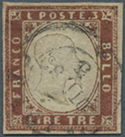 Gest. 1861, 3 L. König Viktor Emanauel II.  Gestempelt Vollrandig , Lt. FFA Chiavarello Echt Aber Nicht Perfekt (dünne S - Ohne Zuordnung