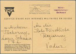 Beleg 1946,Militärinternierte In FL, Offizieller YMCA-Umschlag LBK-Nr. 17b   Mit Violettem L3 Militär-/Interniertenlager - Briefmarken