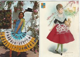 Spain Typical View. 2 Cards. 1 Sent To Denmark.   # 07893 - Unclassified