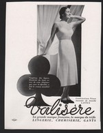 Publicité Papier 1936 Valisère  Sous Vetements Pin Up Soutien Gorge Lingerie - Advertising