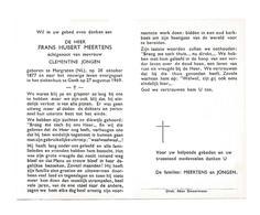 D 290. FRANS MEERTENS  Echtg. C. Jongen - °MARGRATEN (Nederland) 1877 / +GENK 1969 - Images Religieuses
