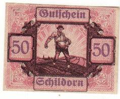 Gutschein Schildorn 1920 - 50 Heller - 2 Scans Recto-verso - Oesterreich