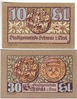 Gutschein Schwaz I Tirol 1921 - 10 & 30 Heller - 2 Scans Recto-verso - Oesterreich