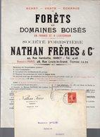 Nancy (Meurthe Et Moselle) Prospectus  NATHAN Frères Forêts Et Bois Avec Son Enveloppe  1910  (PPP14507) - Advertising