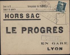 Enveloppe Hors Sac Le Progrès En Gare De Lyon YT 713 CAD Rives Sur Fure Isère 10 2 46 Dos Ambulant Grenoble à Lyon 11 2 - Storia Postale