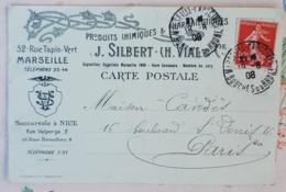 FRANCE Phamarcie, Medecine, Carte Postale Publicitaire SILBERT. VIAL à Marseille 1908 - Pharmacy