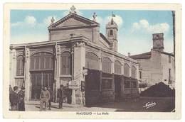 Cpa Mauguio - La Halle ( Panneau Routier D12 Vendargues ) - Mauguio