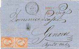086/27 - Bureaux à L' Etranger BFE SALONIQUE Turquie - Lettre Paire TP 17 GC 5095 En 1862 Vers GENOVA - Paquebot SINAI - Marcophilie (Lettres)