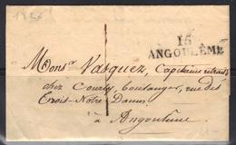 Angoulême (Charente) : 15/ANGOULEME En Noir, 42 X 12 Mm. 1827. - Marcophilie (Lettres)