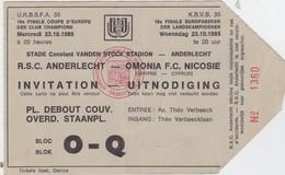 TICKET-VOETBAL-FOOTBALL-R.S.C.ANDERLECHT-OMONIA F.C.NICOSIE-FINALE COUPE D'EUROPE-23.10.1985-BON ETAT VOYEZ LES 2 SCANS! - Tickets D'entrée