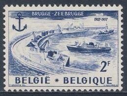 Belgie Belgique Belgium 1957 Mi 1064 YT 1019 * MH - 50th Ann. Completion Zeebrugge Harbour / Mole Hafens - Transportmiddelen