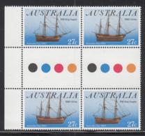 Australia 1983 MNH Scott #862a 27c HMS Sirius, HM Brig Supply Ships Australia Day Gutter Block Of 4 - 1980-89 Elizabeth II
