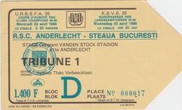 TICKET-VOETBAL-FOOTBALL-R.S.C.ANDERLECHT-STEAUA BUCURESTI-1/2 FINAL COUPE D'EUROPE-02.04.1986-BON ETAT VOYEZ LES 2 SCANS - Tickets D'entrée