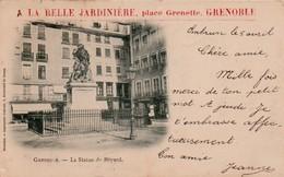 88Fo  38 Grenoble Statue De Bayard Pub A La Belle Jardiniere Place Grenette - Grenoble