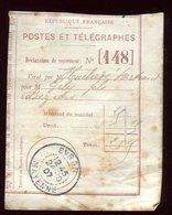 Récépissé De Mandat De Evron En 1907 - Prix Fixe - - Marcophilie (Lettres)