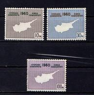 CYPRUS    1960    Constitution  Of  Republic    Set  Of  3    MNH - Cyprus (Republic)