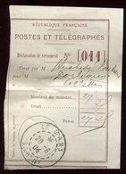 Récépissé De Mandat Du Mans En 1904 - Prix Fixe - - Marcophilie (Lettres)