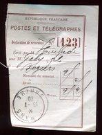 Récépissé De Mandat Du Mans En 1910 - Prix Fixe - - Marcophilie (Lettres)