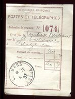 Récépissé De Mandat Du Mans En 1907 , Griffe Au Verso De Délai De Prescription  - Prix Fixe - - Postmark Collection (Covers)