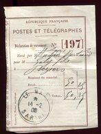 Récépissé De Mandat Du Mans En 1909 , Griffe Au Verso De Délai De Prescription - Prix Fixe - - Postmark Collection (Covers)