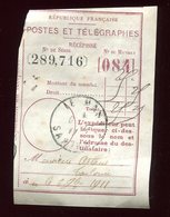 Récépissé De Mandat Du Mans En 1911 - Prix Fixe - - Marcophilie (Lettres)