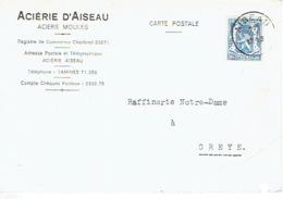 Carte Publicitaire 1943 ACIERIE D'AISEAU - Aiseau-Presles