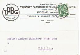 Carte Publicitaire 1937 ANDENNE -TIMSONET-PASTOR-BERTRAND & GILLET REUNIS - Terres & Briques Réfractaires - Andenne