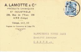 Carte Publicitaire 1943 ANS - A. LAMOTTE & Cie - Produits Chimiques & Industriels - Ans