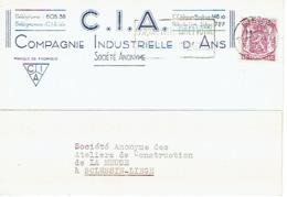Carte Publicitaire 1940 ANS - COMPAGNIE INDUSTRIELLE D'ANS - Ans