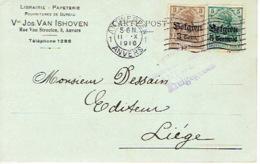 Postkaart Publicitaire ANTWERPEN 1916 - Vve Jos. VAN ISHOVEN - Librairie, Papeterie - Antwerpen