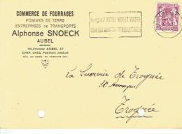 Carte Publicitaire AUBEL 1940  - Alphonse SNOECK - Commerce De Fourrages, Pomme De Terre - Aubel