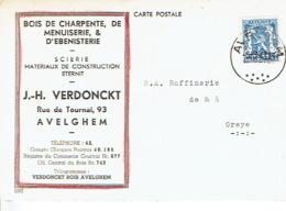Postkaart Publicitaire AVELGHEM 1943 - J.-H. VERDONCKT - Scierie, Matériaux De Construction - Avelgem