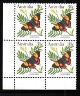 Australia 1983 MNH Scott #875A 30c Chlorinda Hairstreak Butterfly Lower Left Corner Block - 1980-89 Elizabeth II