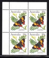 Australia 1983 MNH Scott #875A 30c Chlorinda Hairstreak Butterfly Upper Left Corner Block - 1980-89 Elizabeth II