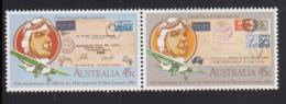 Australia 1984 MNH Scott #891a Pair 45c Charles Ulm, Airplane, Flight Covers 50th Anniversary Official Air Mail - 1980-89 Elizabeth II