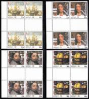 Australia 1985 MNH Scott #949-#952 Tasman, The Eendracht, Dampier, Globe Set Of 4 Gutter Blocks Of 4 - 1980-89 Elizabeth II