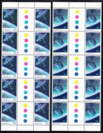 Australia 1986 MNH Scott #972-#973 Communications Satellites Set Of 2 Gutter Blocks Of 10 - 1980-89 Elizabeth II