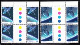 Australia 1986 MNH Scott #972-#973 Communications Satellites Set Of 2 Gutter Blocks Of 4 - 1980-89 Elizabeth II