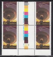 Australia 1986 MNH Scott #982 33c Radio Telescope, Trajectory Diagram Halley's Comet Gutter Block Of 4 - 1980-89 Elizabeth II
