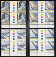 Australia 1987 MNH Scott #1011-#1014 America's Cup Yacht Race Set Of 4 Gutter Blocks Of 4 - 1980-89 Elizabeth II