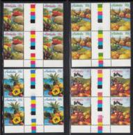Australia 1987 MNH Scott #1015-#1018 Melons, Grapes, Apple Fruit Set Of 4 Gutter Blocks Of 4 - 1980-89 Elizabeth II