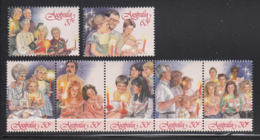 Australia 1987 MNH Scott #1044-#1046 Christmas Carolers Set Strip Of 5 Plus 2 Singles - 1980-89 Elizabeth II